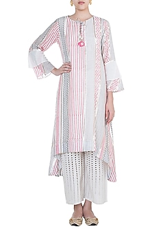 Pink & Grey Embroidered Printed Asymmetrical Long Tunic by GOPI VAID