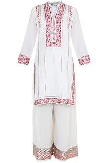 White Embroidered Printed Cotton Kurta Set by GOPI VAID
