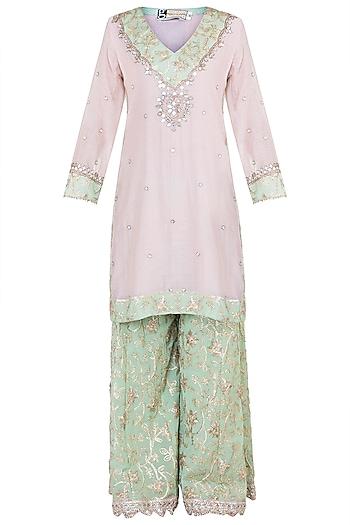 Pink & Green Embroidered Sharara Set by GOPI VAID
