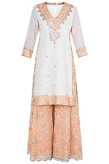 White & Orange Embroidered Sharara Set by GOPI VAID