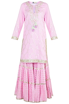 Pink Embroidered Crinkled Gharara Set by GOPI VAID