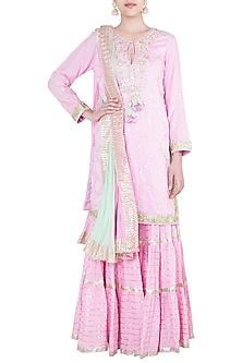 Pink Embroidered Crinkled Gharara Set by GOPI VAID