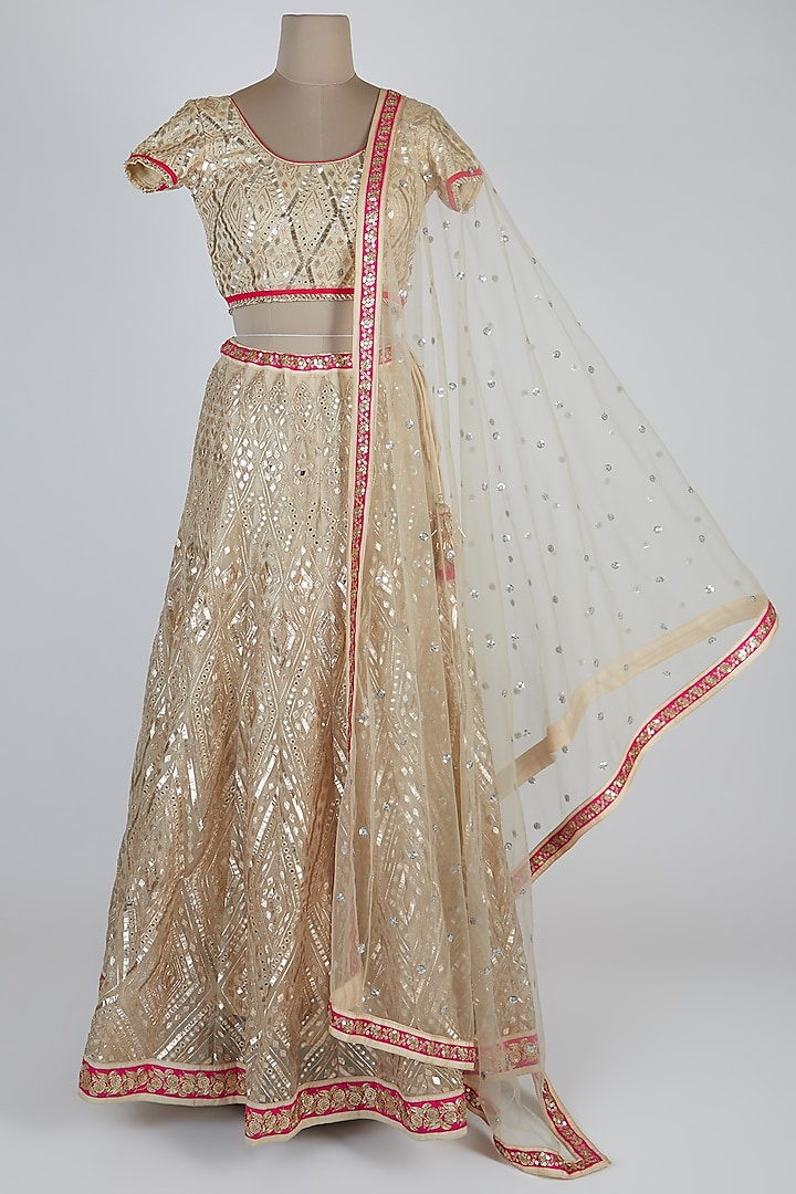 Off White & Red Embroidered Lehenga Set by GOPI VAID