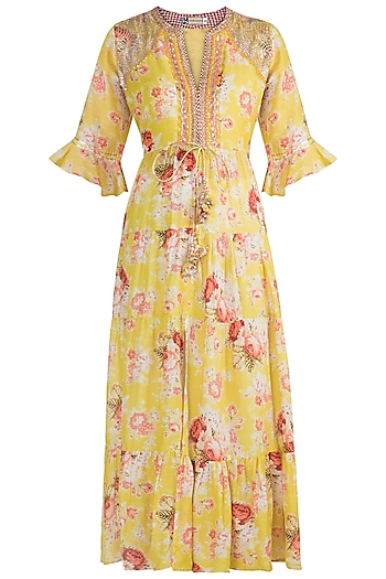 Yellow Embroidered & Printed Tunic by GOPI VAID