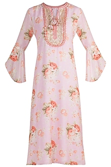 Blush Pink Embroidered & Printed Kaftan Tunic by GOPI VAID