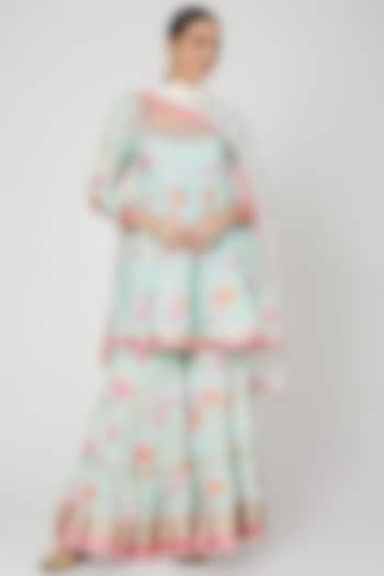Blue Floral Printed & Embroidered Sharara Set by GOPI VAID