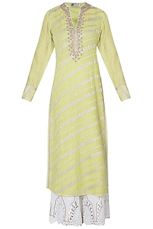 Lime green embroidered kurta by GOPI VAID