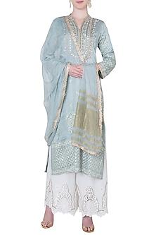 Grey zardosi embroidered kurta set by GOPI VAID