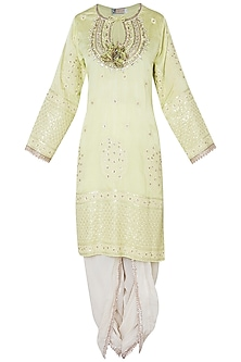 Green embroidered kurta set by GOPI VAID