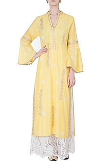 Yellow embroidered kurta by GOPI VAID-BEST SELLERS