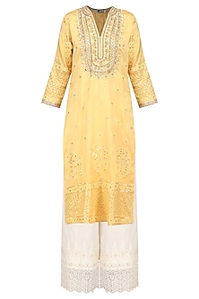 Yellow Embroidered Kurta with Palazzo Pants Set by GOPI VAID
