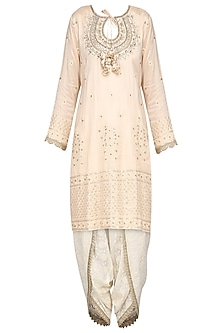 Baby Pink Embroidered Kurta with Dhoti Pants Set by GOPI VAID
