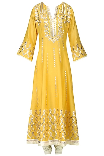Mustard Toi Work Anarkali Set by GOPI VAID
