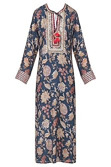 Teal Floral Print Embroidered Kurta by GOPI VAID