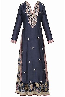 Royal Blue Double Layered Printed Kurta by GOPI VAID