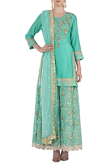 Sea Green Embroidered Kurta with Sharara Pants Set by GOPI VAID