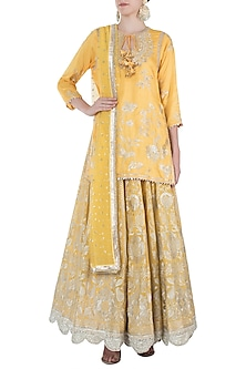 Yellow Embroidered Kurta with Lehenga Skirt Set by GOPI VAID