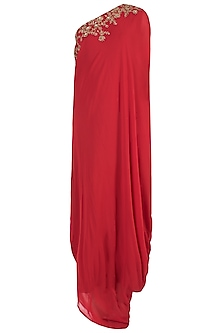 Red Embroidered One Shoulder Gown by GOPI VAID