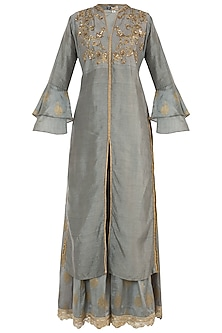 Grey Embroidered Kurta with Palazzo Pants by GOPI VAID