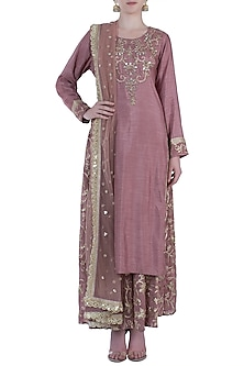 Wine Embroidered Kurta with Sharara Pants Set by GOPI VAID