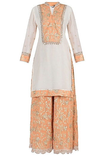 Off White and Orange Embroidered Kurta with Sharara Pants Set by GOPI VAID