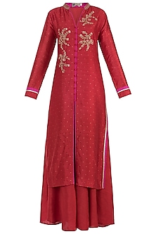 Pink Embroidered Kurta with Palazzo Pants Set by GOPI VAID