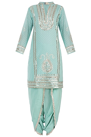 Turquoise Embroidered Kurta with Dhoti Pants Set by GOPI VAID