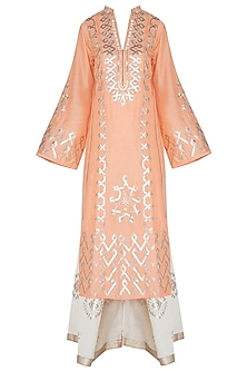 Orange Embroidered Kurta with Beige Sharara Pants Set by GOPI VAID