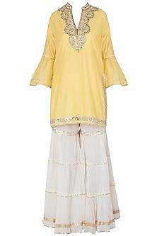Yellow Embroidered Kurta with Off White Sharara Pants Set by GOPI VAID