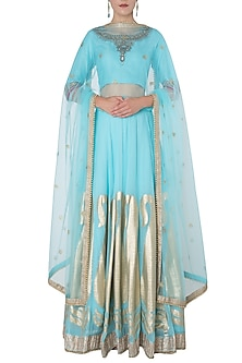 Aqua Blue Paisley Embroidered Lehenga Set by GOPI VAID