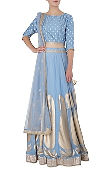 Powder Blue Paisley Embroidered Lehenga Set by GOPI VAID