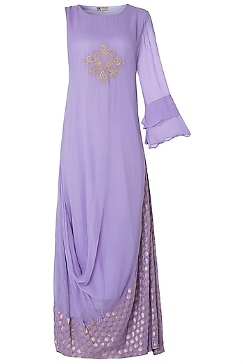 Lilac Asymmetrical One Shoulder Embroidered Kurta by GOPI VAID