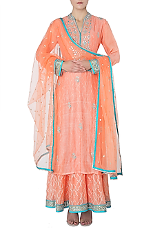 Peach Embroidered Kurta with Pleated Skirt Set by GOPI VAID