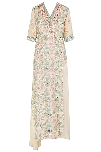 Beige Asymmetrical Floral Printed and Embroidered Kurta by GOPI VAID