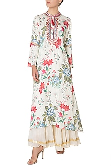 Multi Color Asymmetrical Embroidered and Floral Printed Kurta by GOPI VAID