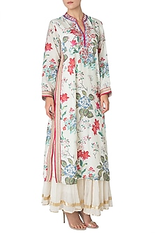 Multi Color Embroidered and Floral Printed Straight Cut Kurta by GOPI VAID
