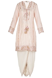 Off White Embroidered Kurta Set with A Triangle Scarf by GOPI VAID