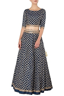 Navy Blue Embroidered Lehenga Set by GOPI VAID