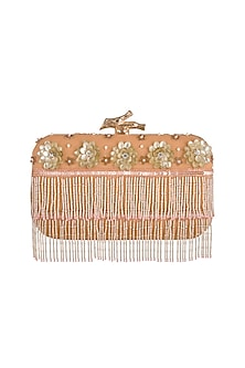 Peach Embroidered Clutch by GRANDEUR