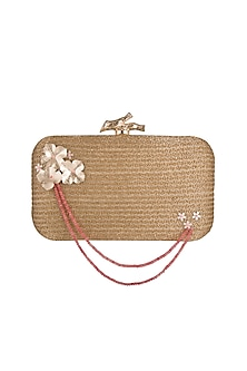 Golden Agate Embroidered Clutch by GRANDEUR