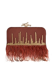 Rust Red Embroidered Feathers Clutch by GRANDEUR