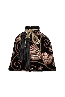 Black Embroidered Potli by GRANDEUR