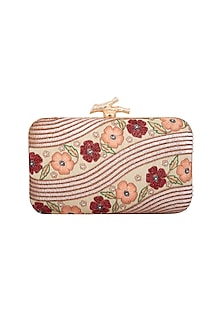 Rose Gold & Pink Embroidered Clutch by GRANDEUR