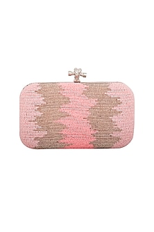 Light Pink Embroidered Clutch by GRANDEUR