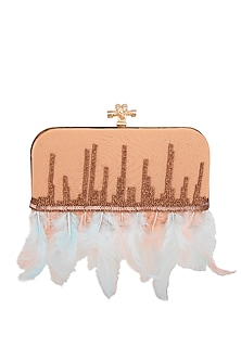 Peach & Blue Feather Embroidered Clutch by GRANDEUR