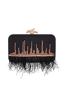 Black & Rose Gold Feather Embroidered Clutch by GRANDEUR