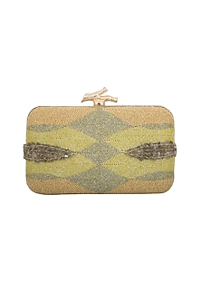 Green Ombre Embroidered Clutch by GRANDEUR