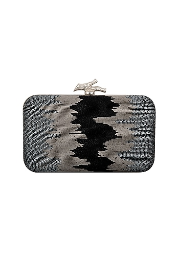 Grey Beads Embroidered Clutch by GRANDEUR
