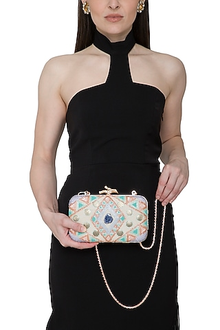 Multi Colored Embroidered Clutch by Durvi