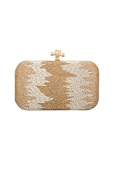 Gold Beads Embroidered Clutch by GRANDEUR
